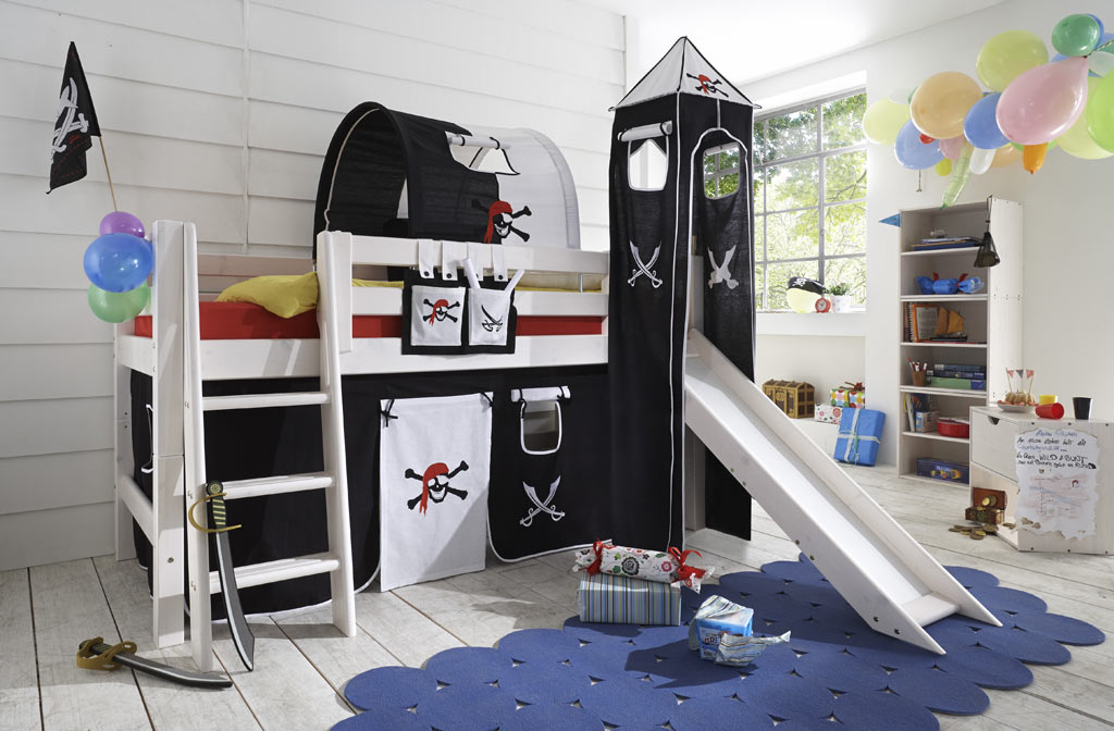 das infanskids abenteuerbett pirat mit rutsche g nstig. Black Bedroom Furniture Sets. Home Design Ideas