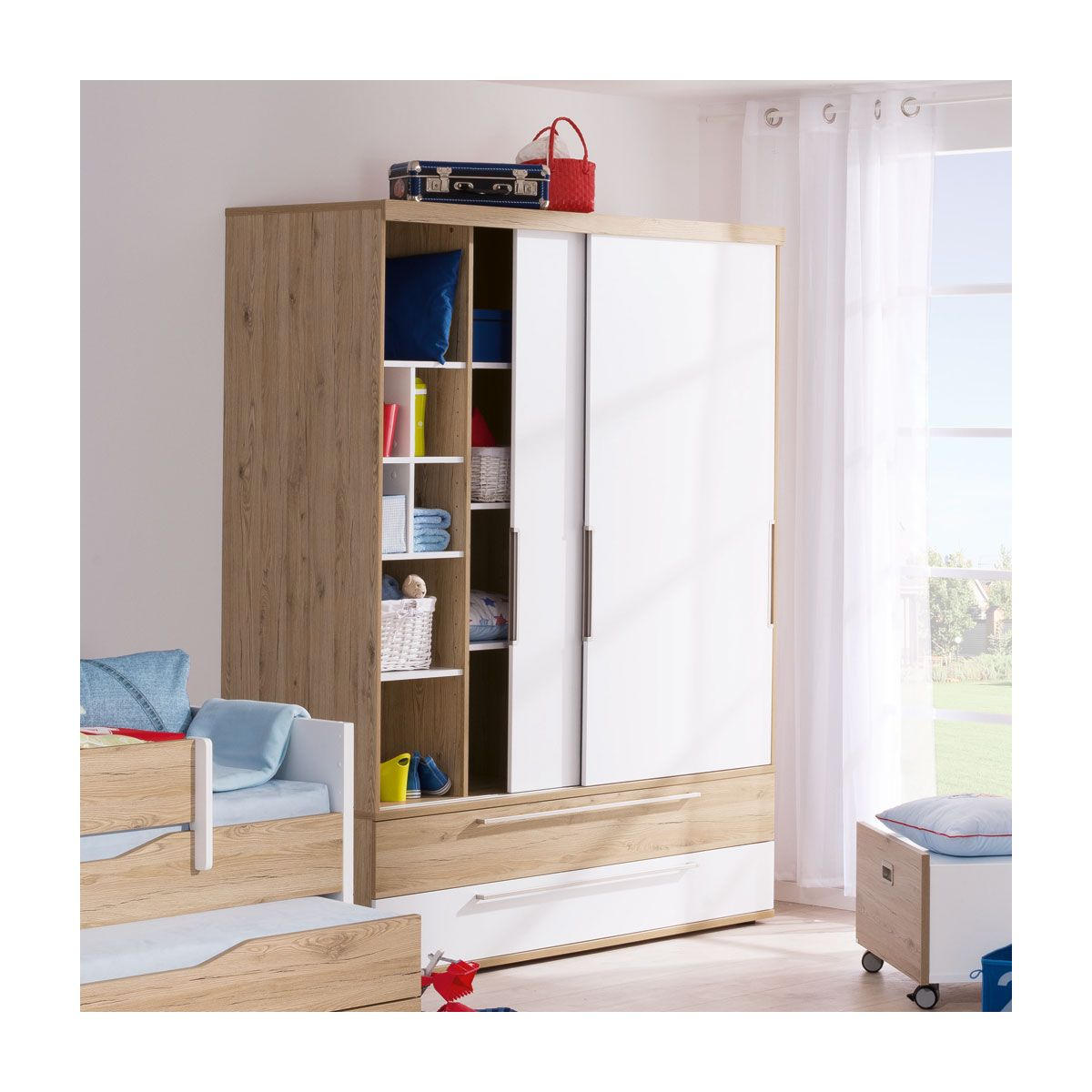 einbau kleiderschr nke mit schiebet ren schlafzimmer luca pinie wei set komplett 4 tlg. Black Bedroom Furniture Sets. Home Design Ideas