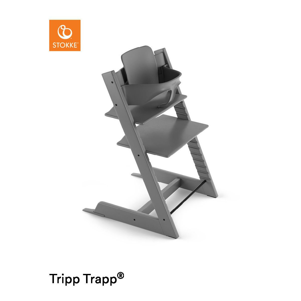 stokke hochstuhl tripp trapp storm grey mit babyset. Black Bedroom Furniture Sets. Home Design Ideas