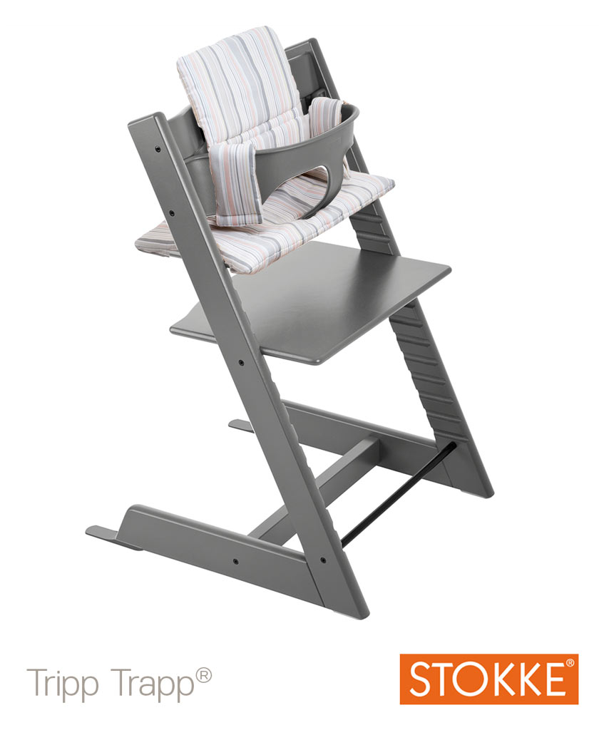stokke tripp trapp storm grey mit babyset kissen. Black Bedroom Furniture Sets. Home Design Ideas