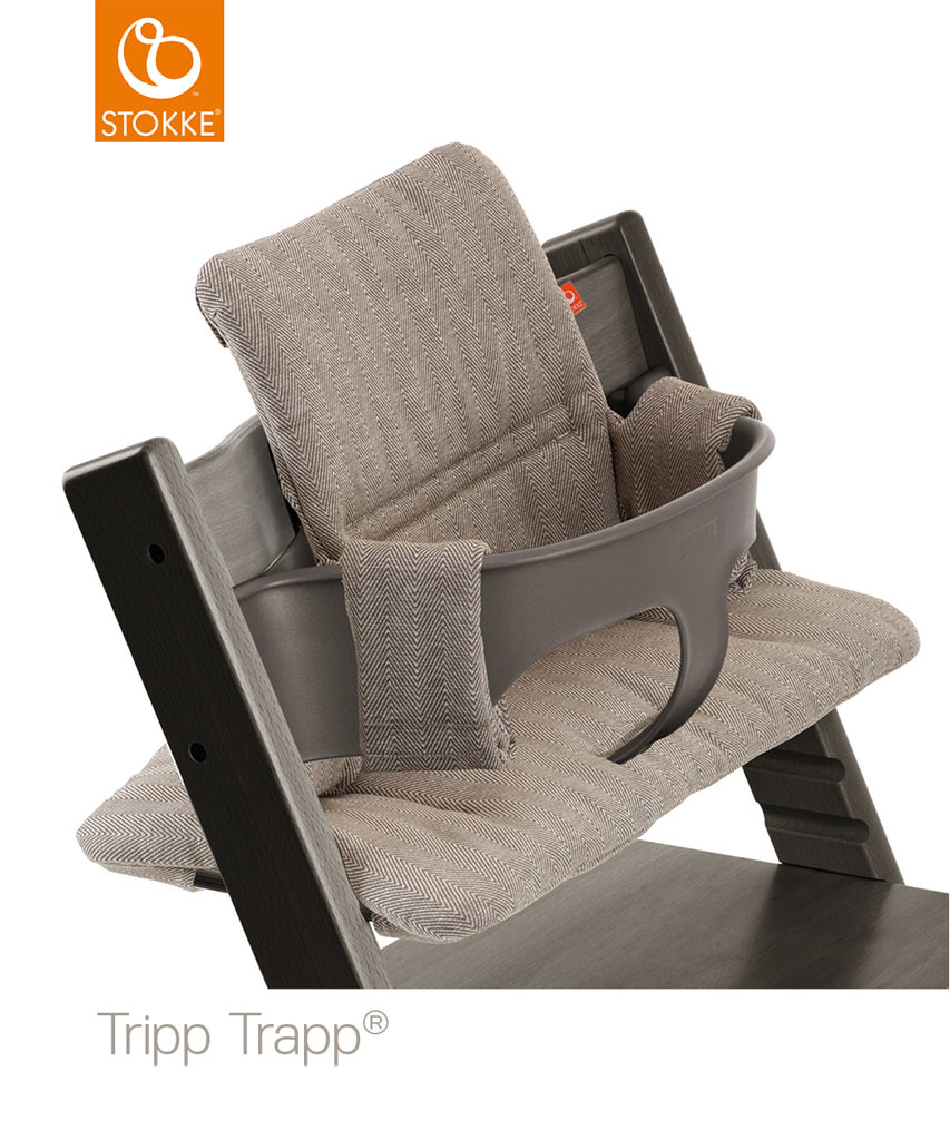 stokke tripp trapp hazy grey mit babyset kissen. Black Bedroom Furniture Sets. Home Design Ideas