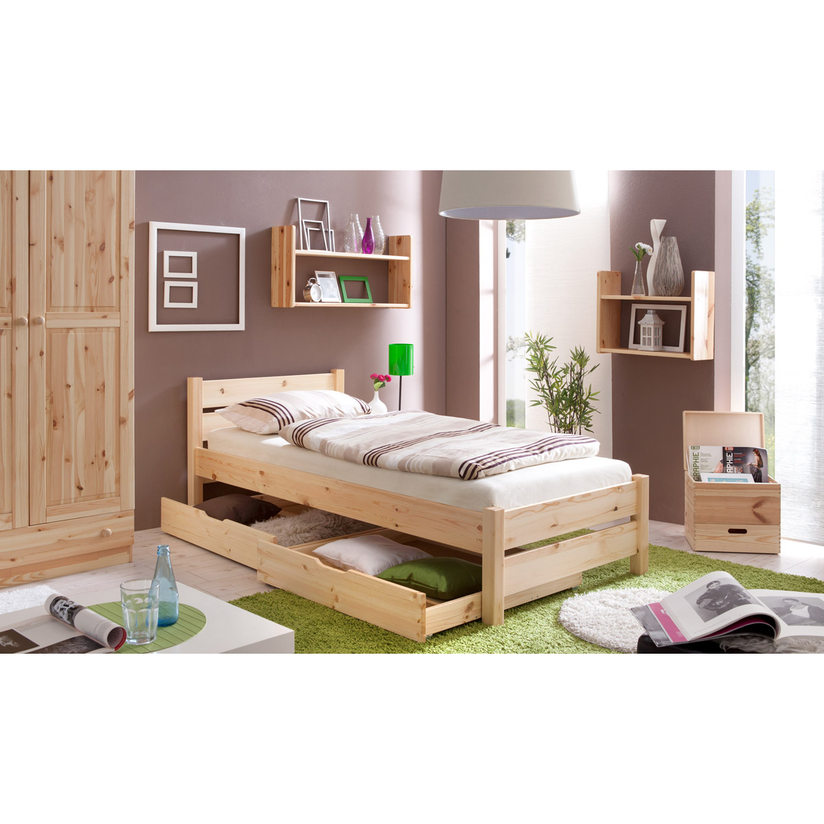 ticaa bora einzelbett kiefer natur 90x200 portofrei. Black Bedroom Furniture Sets. Home Design Ideas