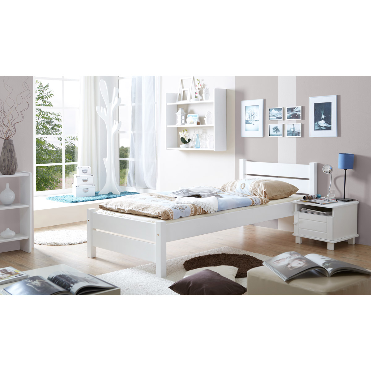 ticaa bora einzelbett kiefer wei 90x200 cm. Black Bedroom Furniture Sets. Home Design Ideas