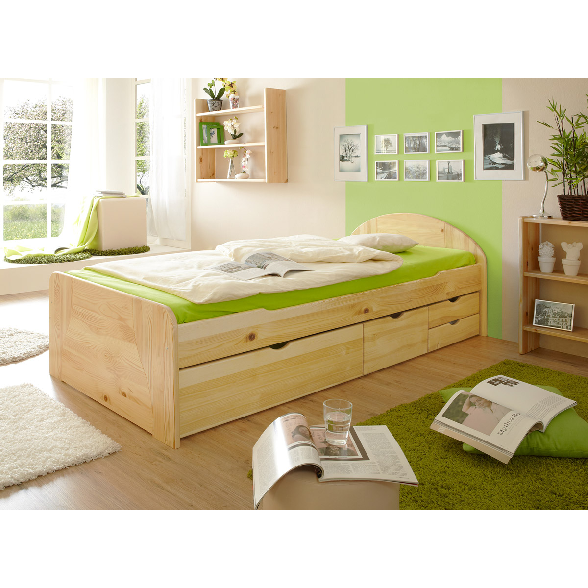 ticaa erna schubkastenbett kiefer natur 100x200 cm. Black Bedroom Furniture Sets. Home Design Ideas