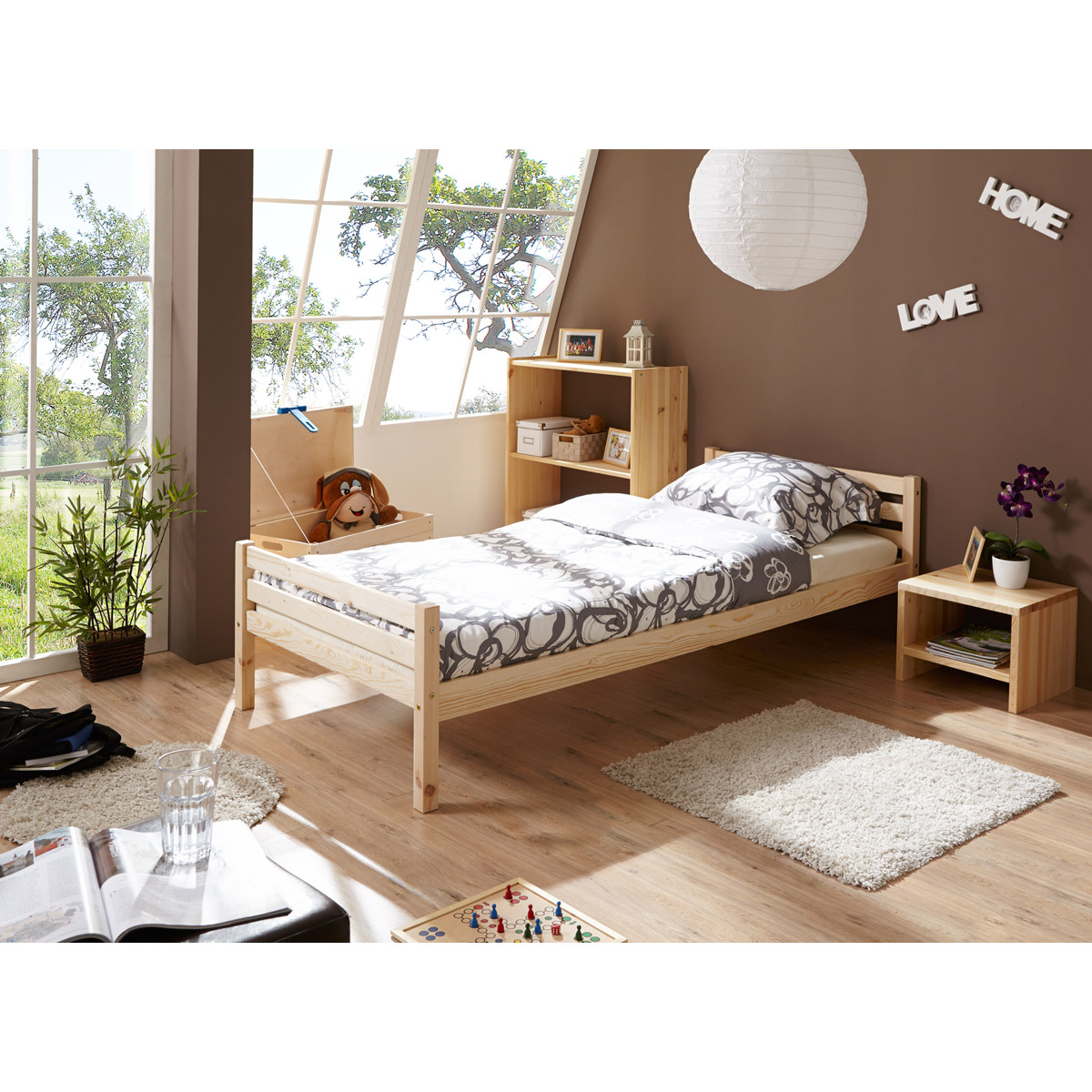 ticaa nadine einzelbett kiefer natur 90x200 cm portofrei. Black Bedroom Furniture Sets. Home Design Ideas