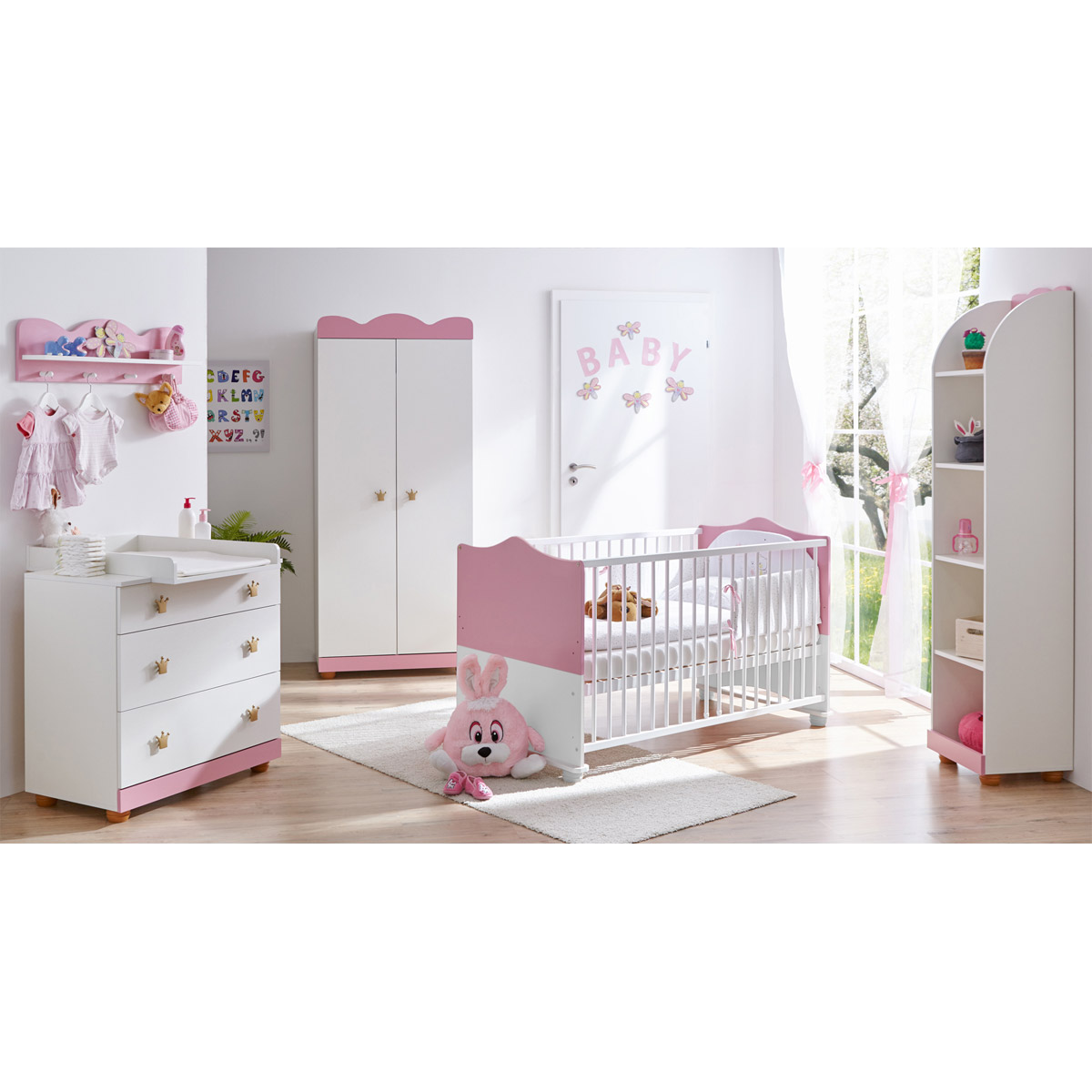 ticaa prinzessin babyzimmer wei rosa 5 teilig zum toppreis. Black Bedroom Furniture Sets. Home Design Ideas