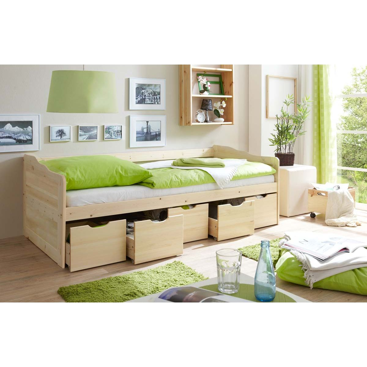 ticaa maria sofabett mit schubkaesten kiefer natur portofrei. Black Bedroom Furniture Sets. Home Design Ideas