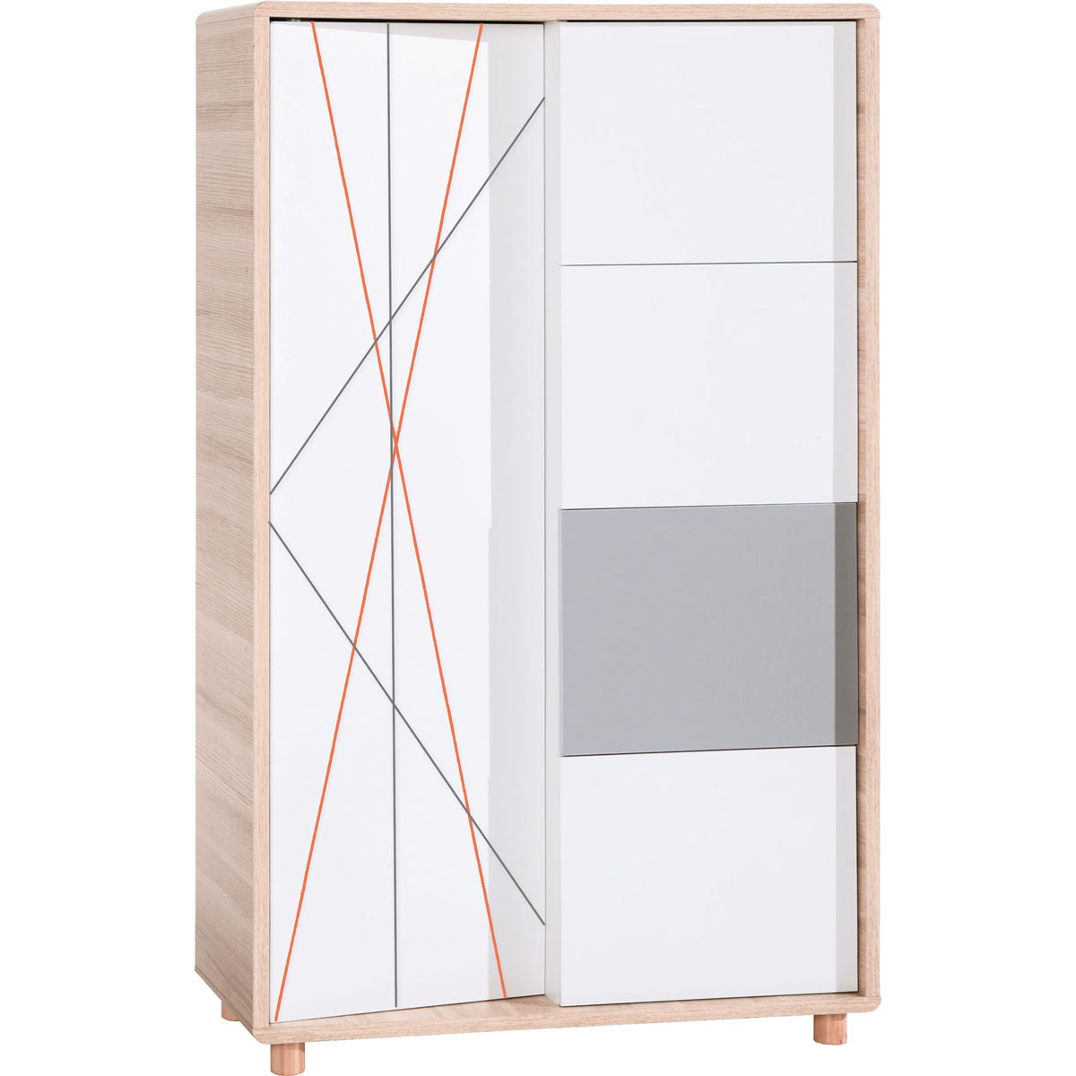 vox evolve kommode hoch oak white grey toppreis. Black Bedroom Furniture Sets. Home Design Ideas