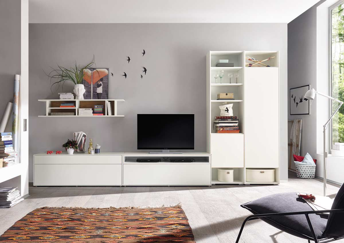h lsta now easy wohnwand lack reinwei media 199x359x45 cm. Black Bedroom Furniture Sets. Home Design Ideas