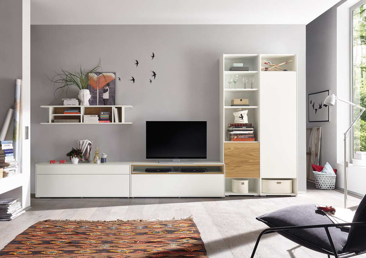 now by h lsta easy wohnwand natureiche media 199x359x45. Black Bedroom Furniture Sets. Home Design Ideas
