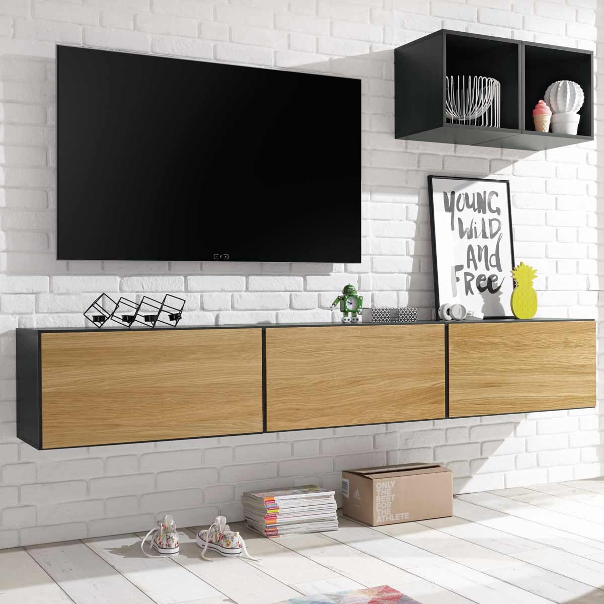 h lsta now to go kombination 1 mit 5 boxen grau natur. Black Bedroom Furniture Sets. Home Design Ideas