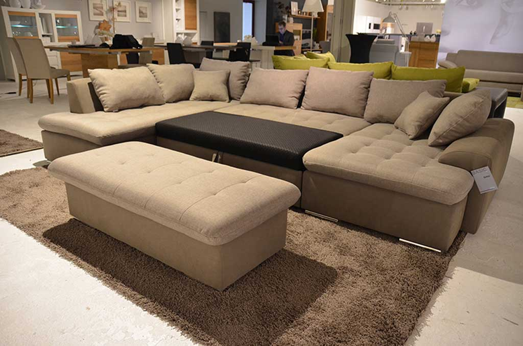 new look salsa sofa taupe tan mit schlaffunktion und kissen. Black Bedroom Furniture Sets. Home Design Ideas