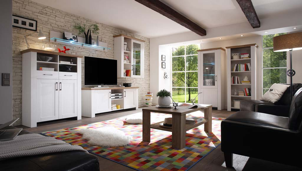 m usbacher country wohnwand 1 in anderson pine. Black Bedroom Furniture Sets. Home Design Ideas