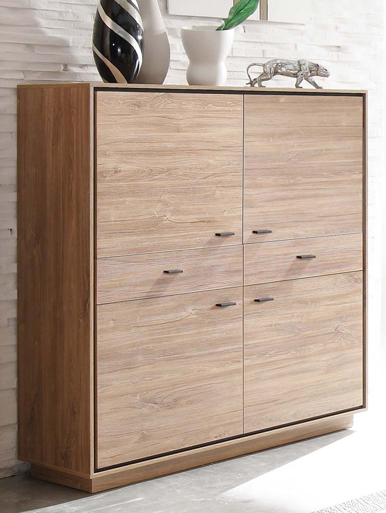 m usbacher salinas highboard 42 stirling oak schwarz matt. Black Bedroom Furniture Sets. Home Design Ideas