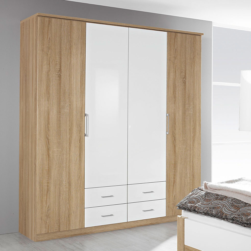 rauch arona faltt renschrank 181 cm eiche sonoma wei. Black Bedroom Furniture Sets. Home Design Ideas