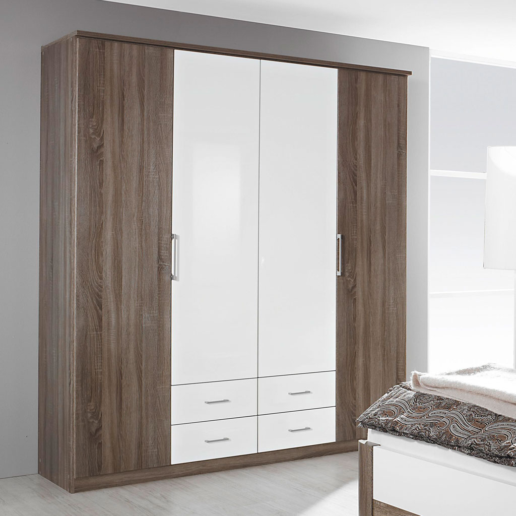 rauch arona faltt renschrank 181 cm eiche havanna wei. Black Bedroom Furniture Sets. Home Design Ideas
