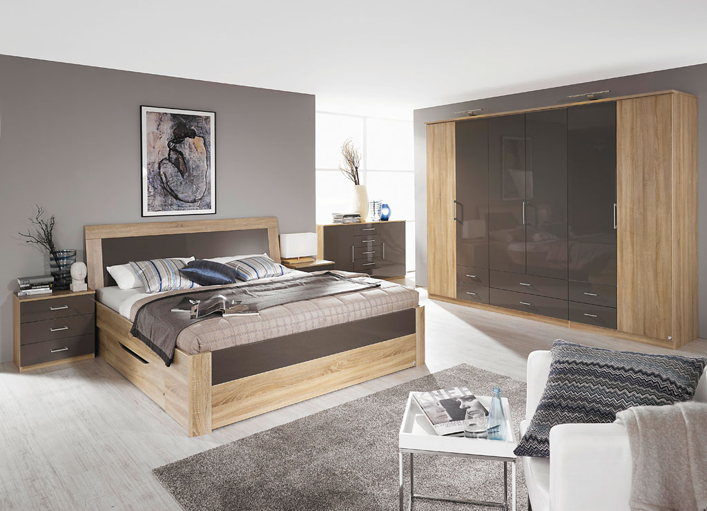 rauch arona schlafzimmer eiche sonoma hochglanz lavagrau. Black Bedroom Furniture Sets. Home Design Ideas