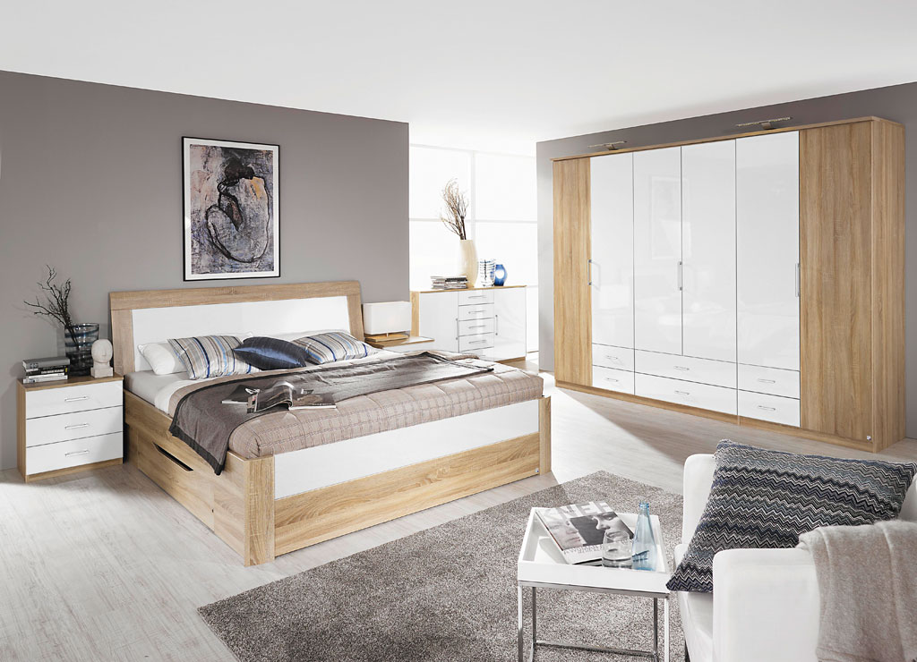 rauch arona schlafzimmer eiche sonoma hochglanz wei. Black Bedroom Furniture Sets. Home Design Ideas