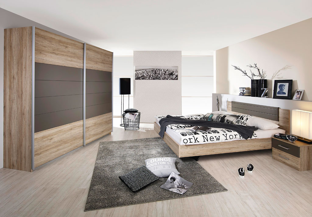 rauch barcelona schlafzimmer eiche sanremo hell lavagrau. Black Bedroom Furniture Sets. Home Design Ideas