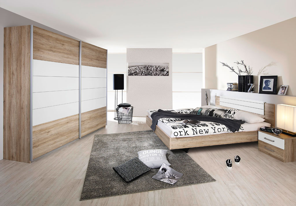 rauch barcelona schlafzimmer eiche sanremo hell alpinwei. Black Bedroom Furniture Sets. Home Design Ideas
