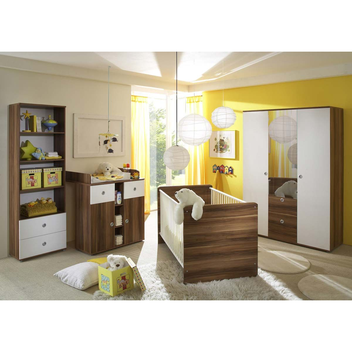 ticaa milu babyzimmer walnuss wei 4 teilig portofrei. Black Bedroom Furniture Sets. Home Design Ideas