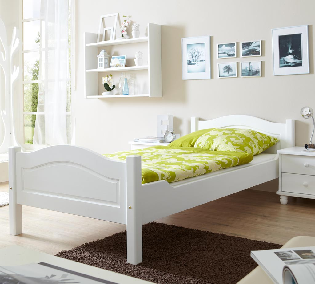 ticaa rita einzelbett kiefer wei 90x200 zum toppreis. Black Bedroom Furniture Sets. Home Design Ideas