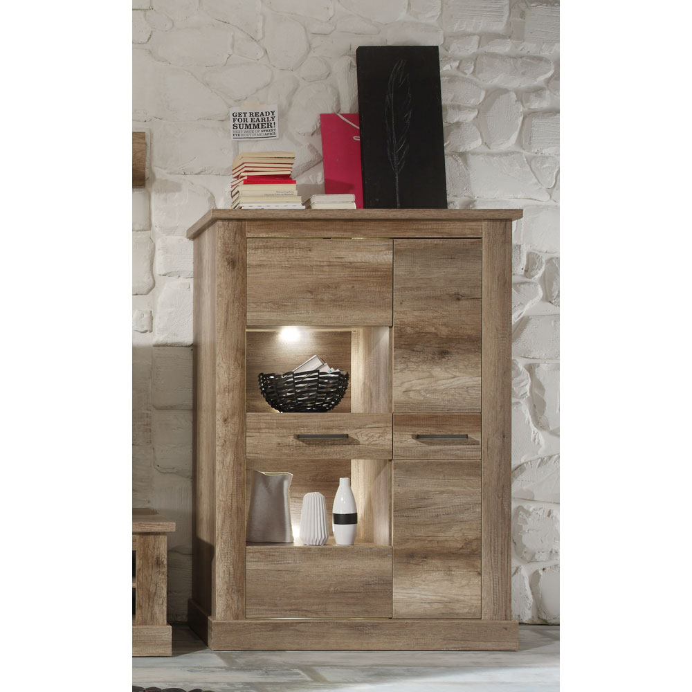 trendteam montreal standvitrine halbhoch canyon monument oak. Black Bedroom Furniture Sets. Home Design Ideas