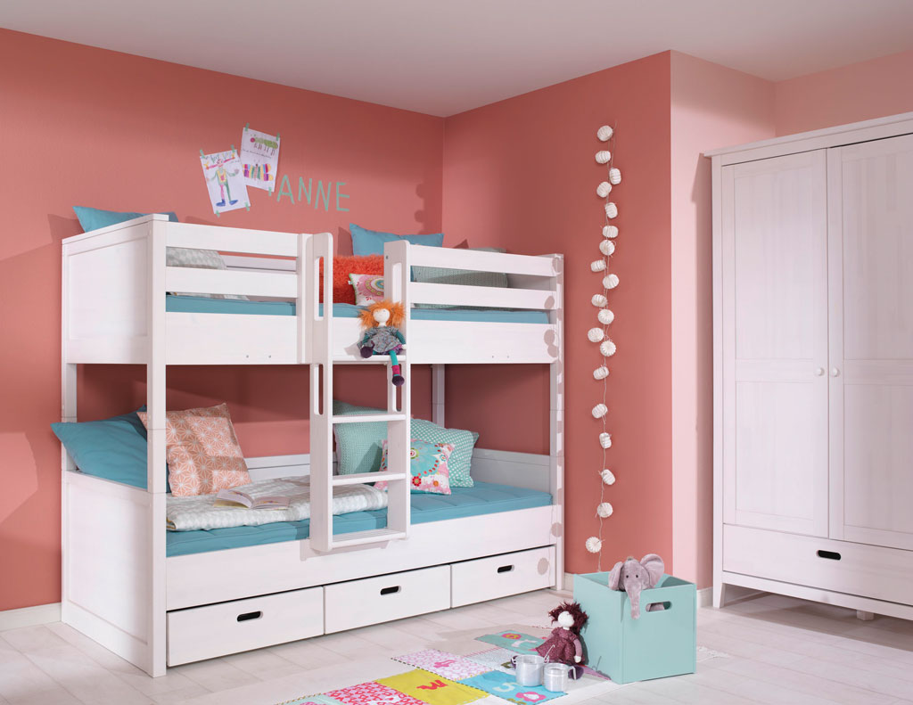 wellem bel lumio kids jugendzimmer kiefer wei etagenbett. Black Bedroom Furniture Sets. Home Design Ideas
