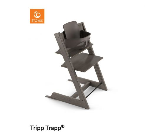 stokke hochstuhl tripp trapp hazy grey mit babyset. Black Bedroom Furniture Sets. Home Design Ideas