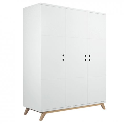 bopita lynn kleiderschrank 3 t rig wei natur. Black Bedroom Furniture Sets. Home Design Ideas