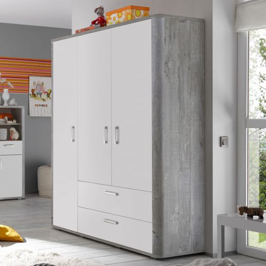 m usbacher frieda kleiderschrank vintage wood grey toppreis. Black Bedroom Furniture Sets. Home Design Ideas
