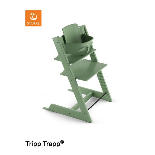stokke hochstuhl tripp trapp moss green mit babyset. Black Bedroom Furniture Sets. Home Design Ideas