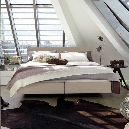 now by h lsta boxspringbett b flachgewebe mit leinen. Black Bedroom Furniture Sets. Home Design Ideas