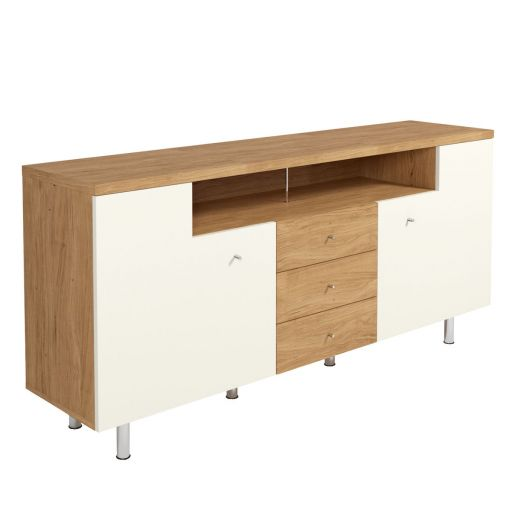 now time by h lsta sideboard mit f en lack wei natureiche. Black Bedroom Furniture Sets. Home Design Ideas