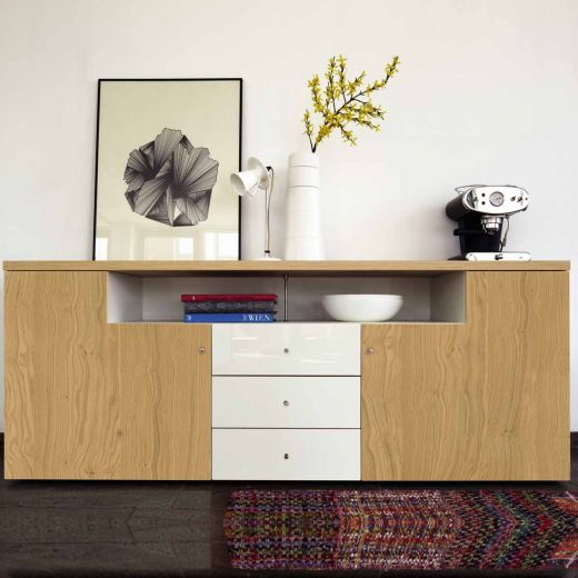 now time by h lsta sideboard lack wei natureiche hochglanz. Black Bedroom Furniture Sets. Home Design Ideas