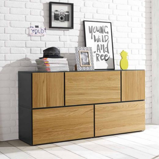 h lsta now to go kombination 3 mit 5 boxen grau natur. Black Bedroom Furniture Sets. Home Design Ideas