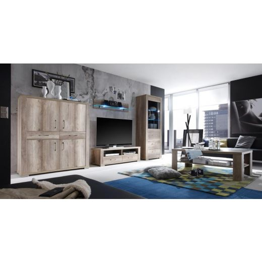 m usbacher matti wohnwand 6 in wildeiche tr ffel. Black Bedroom Furniture Sets. Home Design Ideas