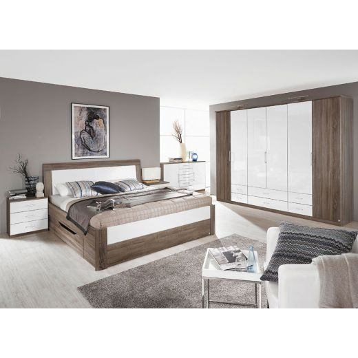 rauch arona schlafzimmer eiche havanna hochglanz wei. Black Bedroom Furniture Sets. Home Design Ideas