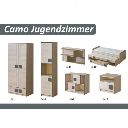 ticaa camo kinderzimmer 6 teilig santana grau portofrei. Black Bedroom Furniture Sets. Home Design Ideas